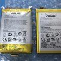 ZenFone2(ZE551ML)の膨張したバッテリーと新品のバッテリーの比較写真